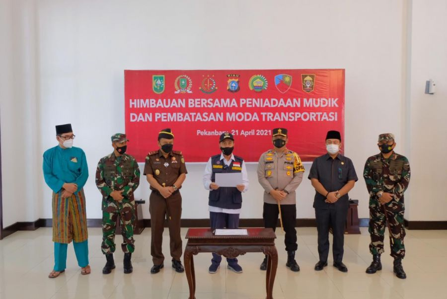 Forkopimda bersama Polda Riau Deklarasi Larangan Mudik, Ada 3 Point Penting