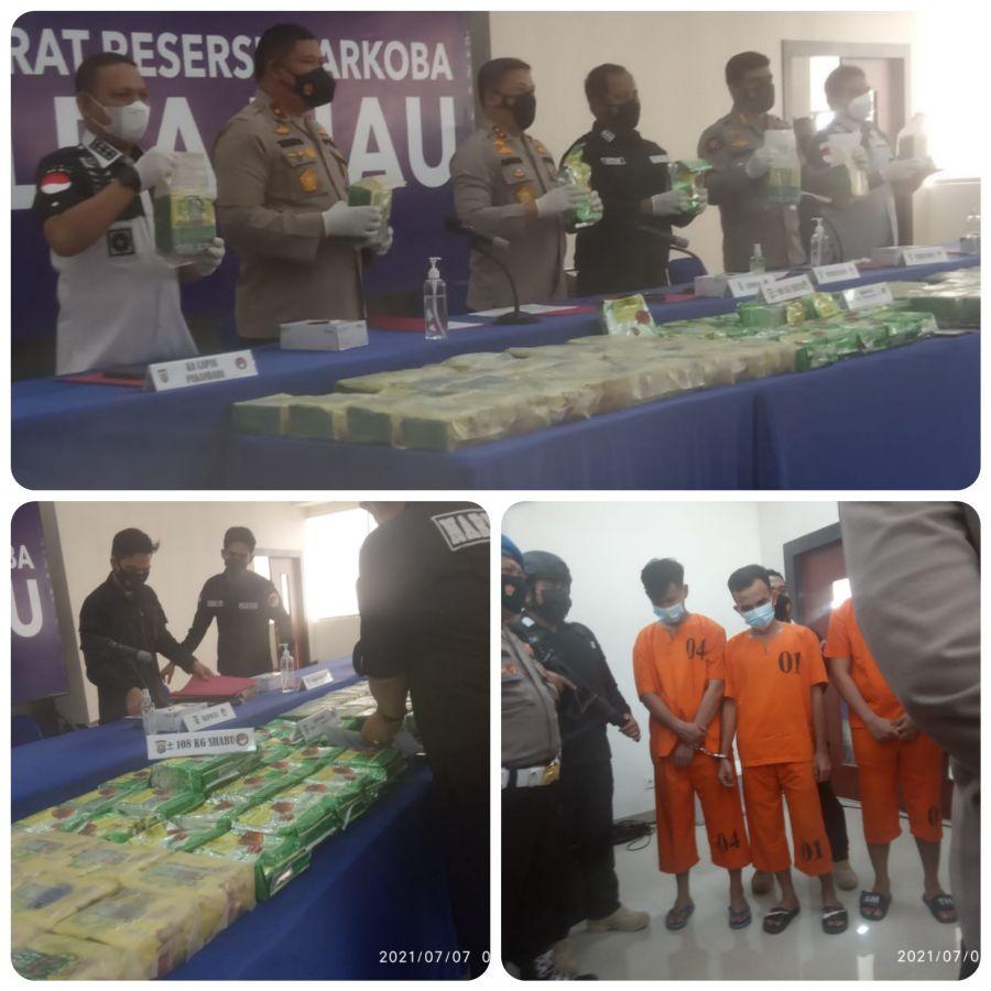 Polda Riau Bongkar Jaringan Narkoba oleh Napi yang akan Bebas Dengan Total BB 108 Kg Sabu