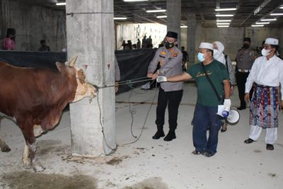 Keluarga Besar Polresta Pekanbaru Sembelih 26 Ekor Hewan Qurban Bagi Warga Kota